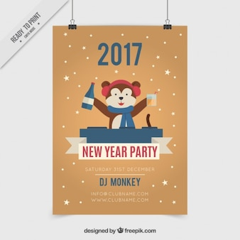 Funny dj bear new year party poster