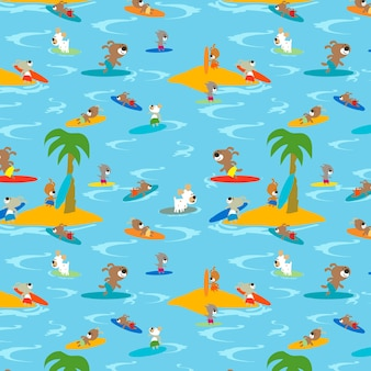 Funny dogs on a surfing boards seamless pattern vector design