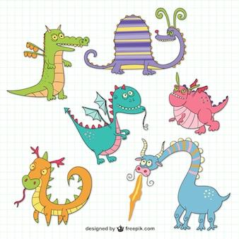 Funny dragons drawings