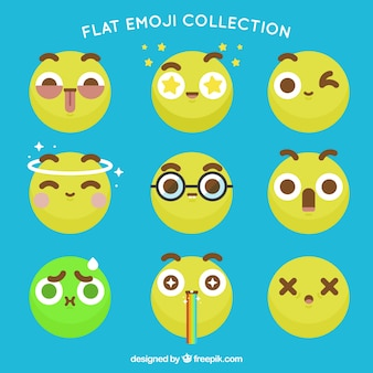 Funny emoticons in flat design