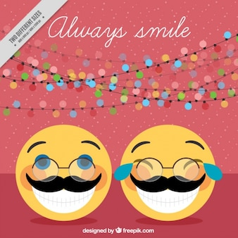 Funny emoticons with moustache and positive phrase