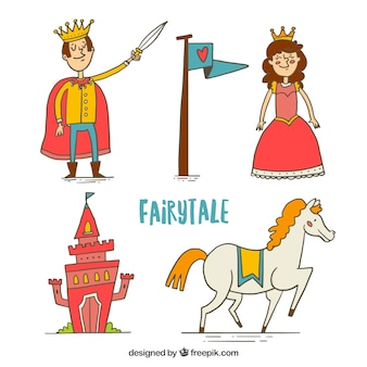 Funny fairy tale characters and elements