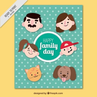 Funny family day card with faces un flat design
