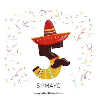 Funny five number with mexican hat and moustache background