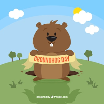 Funny groundhog day illustration