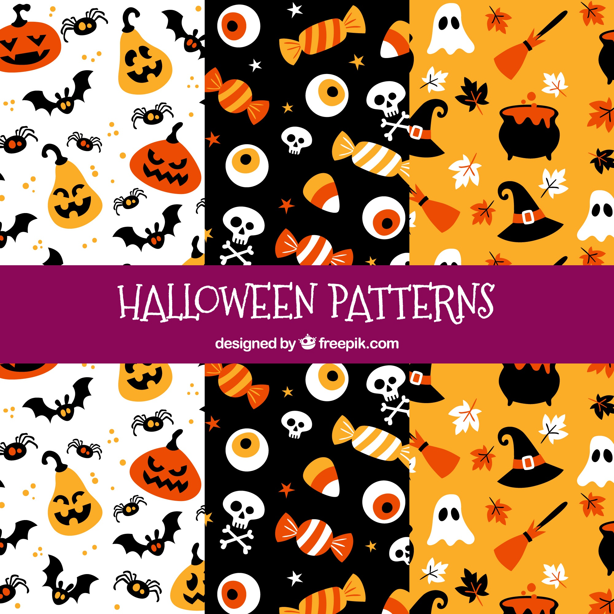Funny halloween patterns with elements