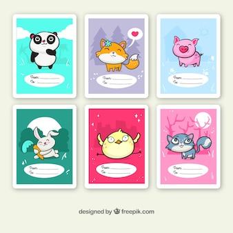 おかしい手描きの動物カード
