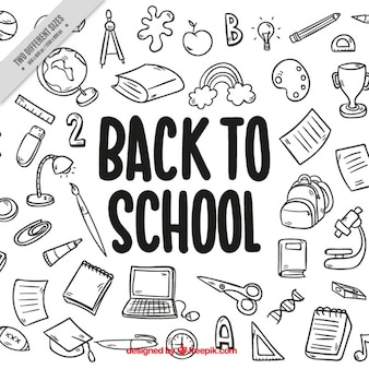 Funny hand drawn background for back to school