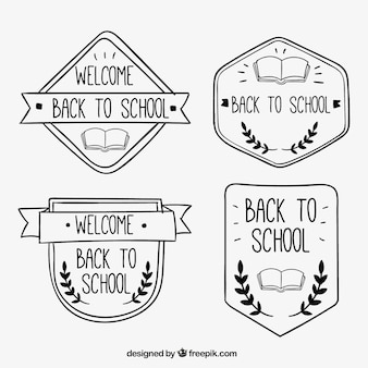 Funny hand drawn badges for back to school
