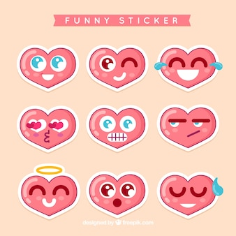 Funny heart stickers
