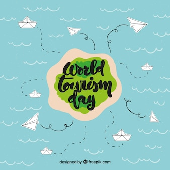 Funny island with hand drawn elements, world tourism day