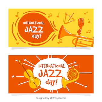 Funny jazz banners with musical instruments