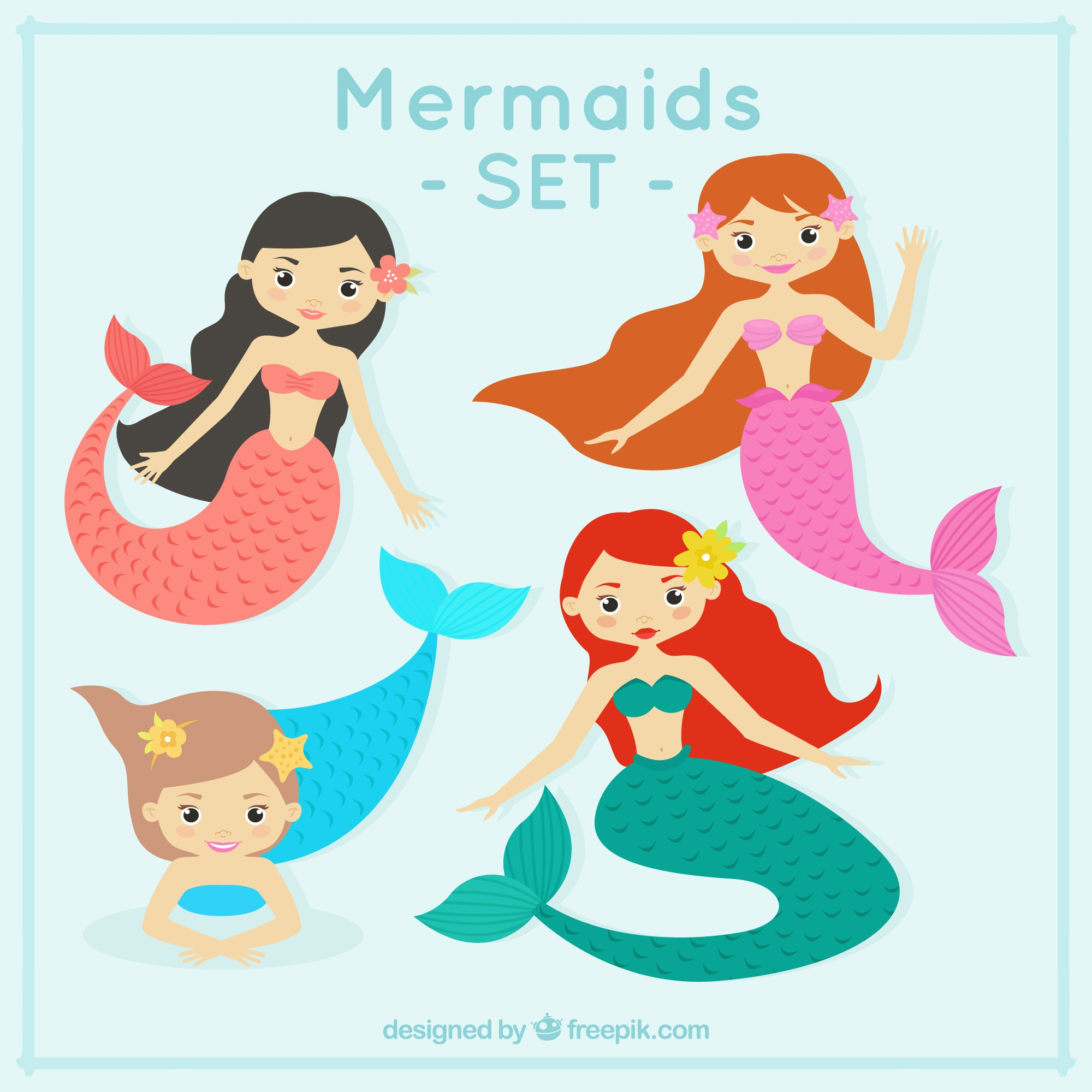 Funny mermaids design
