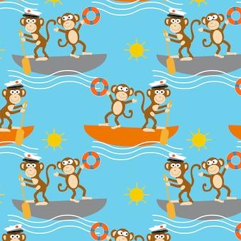 面白い猿のセーリングボートの漫画のシームレスなパターンのベクトル設計