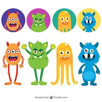 Cute Monsters Set Vector Free Download