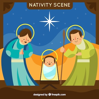 Funny nativity scene in flat design