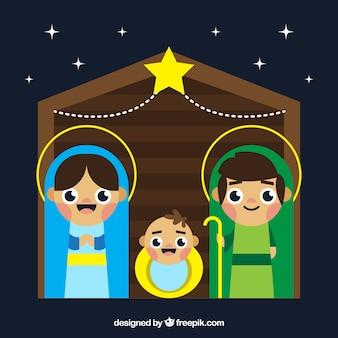 Funny nativity scene in flat design