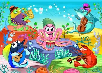 海のオーケストラ海洋動物のグループと笑い声の音楽シーンベクトル漫画のイラスト