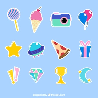 Funny pack of colorful stickers