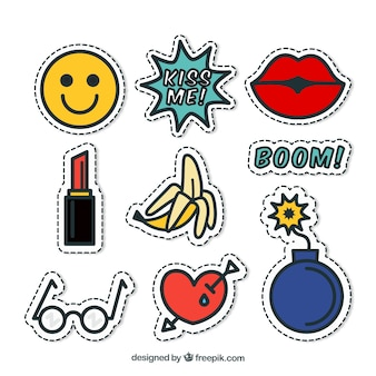 Funny pack of pop art stickers