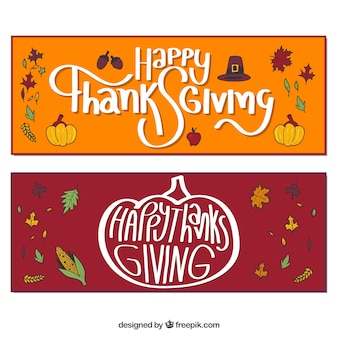 Funny pack of thanksgiving banners