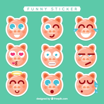 Funny piggy stickers