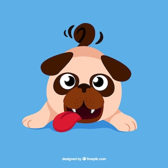 Funny pug with flat design
