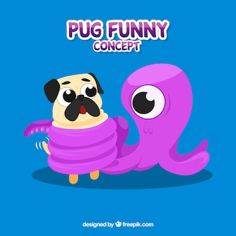 Funny pug with octopus