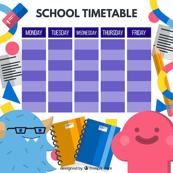 Funny school timetable with nice monsters