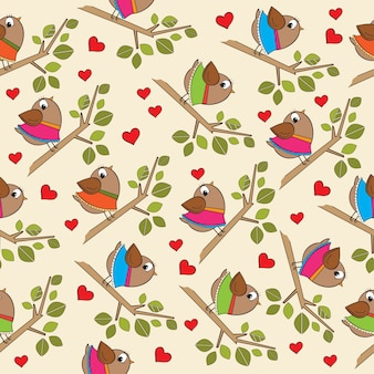 Funny seamless pattern with dressed birds