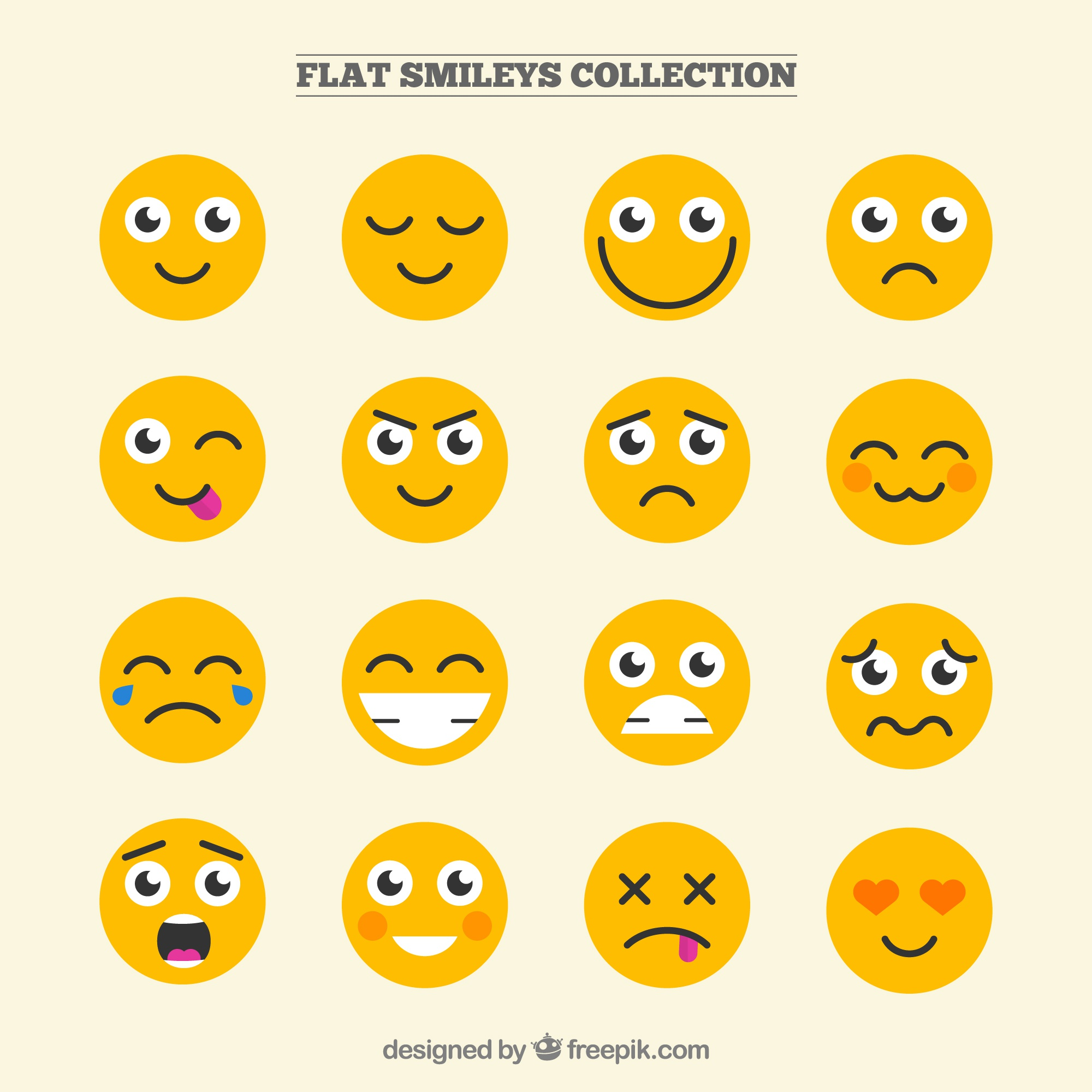 Funny smileys collection in flat design