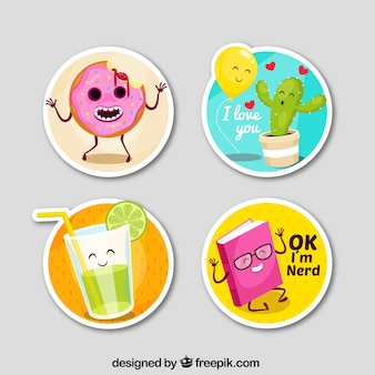 Funny stickers with circular design