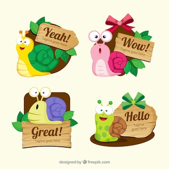 Funny stickers with colorful snail