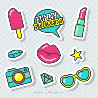 Funny stickers with fashion style