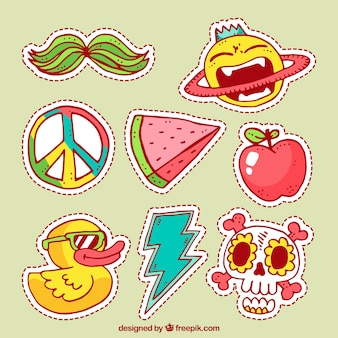 Funny stickers with hand drawn style
