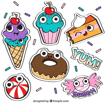 Funny stickers with sweet food