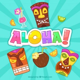 Funny totem aloha background