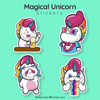 Funny unicorn stickers set