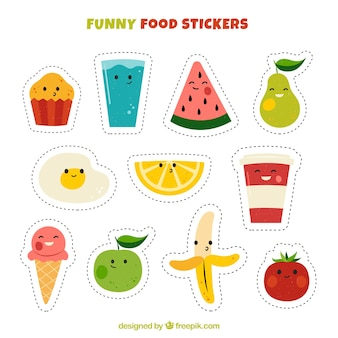Funny variety of food stickers