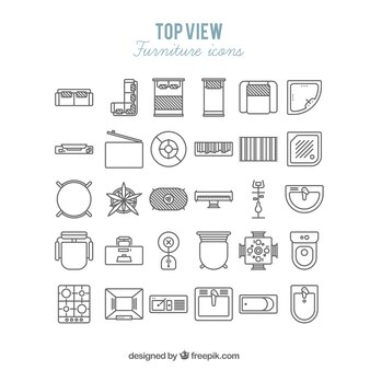 Furniture icons in top view