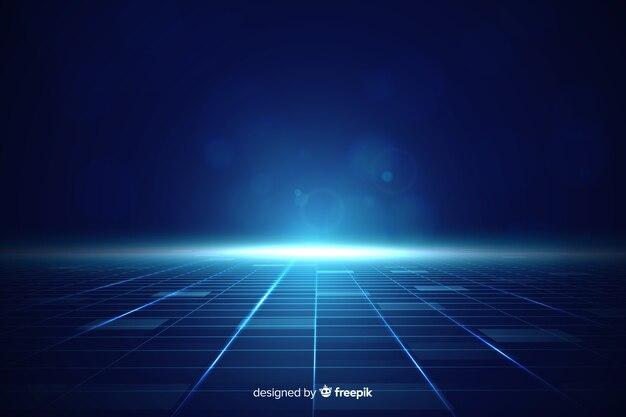 Futuristic horizon background with blue light