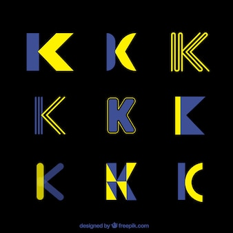 Futuristic logo letter k template collection