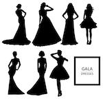 Gala dresses silhouettes