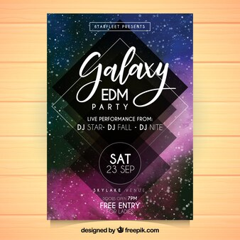 Galactic party poster template