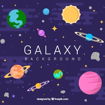 Galaxy background with planets in flat design