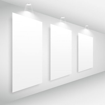 Gallery interior with picture frame and lights
