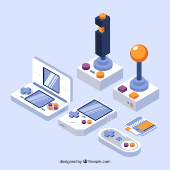 Game consoles in isometric style