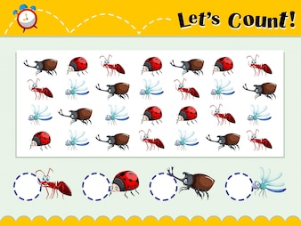 Game template with counting insects illustration