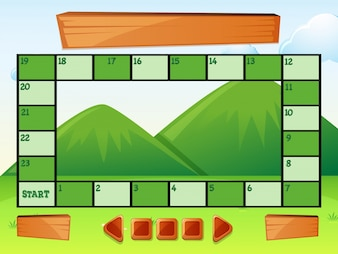 Game template with mountains in background