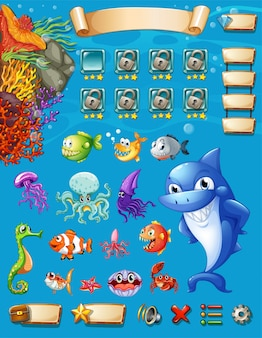 Game template with sea animals background illustration